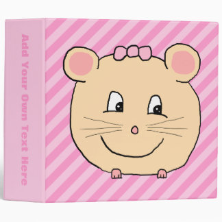 Cute Cartoon Mouse on Pink Stripes. Binder
