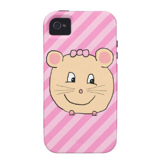 Cute Cartoon Mouse on Pink Stripes Case-Mate iPhone 4 Case