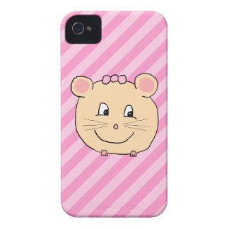 Cute Cartoon Mouse on Pink Stripes Case-Mate Blackberry Case