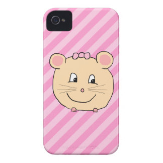 Cute Cartoon Mouse on Pink Stripes iPhone 4 Case-Mate Cases