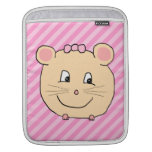 Cute Cartoon Mouse on Pink Stripes. Sleeve For iPads