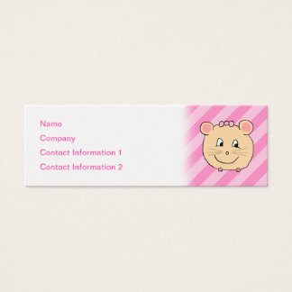 Cute Cartoon Mouse on Pink Stripes. Mini Business Card