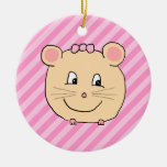 Cute Cartoon Mouse on Pink Stripes. Ornament