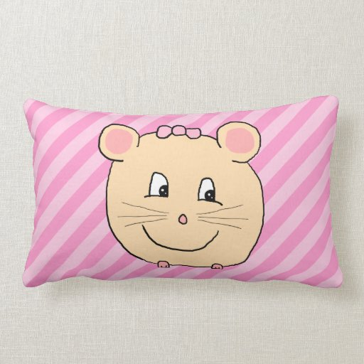 Cute Cartoon Mouse on Pink Stripes. Pillow