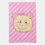 Cute Cartoon Mouse on Pink Stripes. Towels