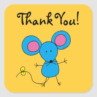 Cute cartoon mouse thank you square sticker