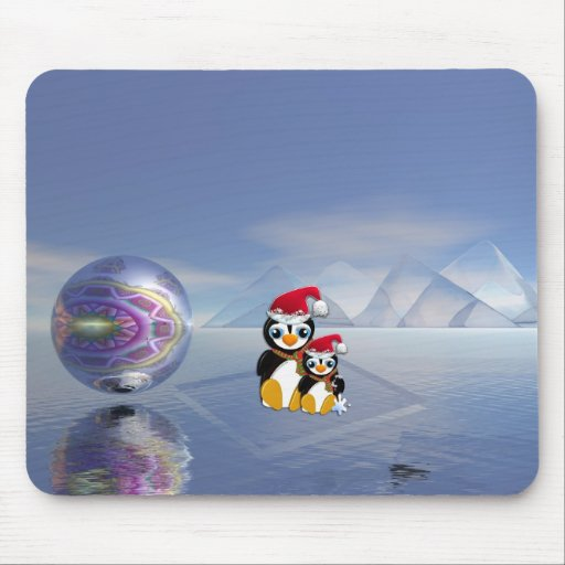 Cute cartoon mousepad with pinguins