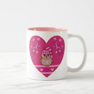 Cute cartoon mug Baby owl in Heart
