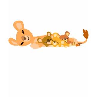 Cute Cartoon Mum Lion and Cubs Children apparel shirt