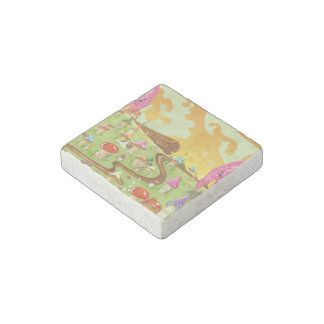 Cute cartoon mushroom field stone magnet