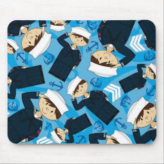 Cute Cartoon Navy Sailor Pattern Mouse Pad