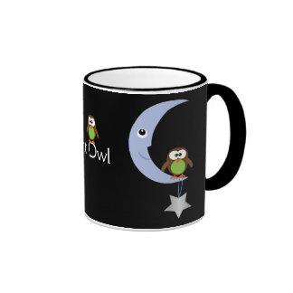 Cute Cartoon Night Owls With Moons & Stars Ringer Mug
