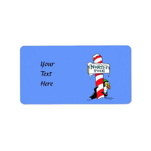 Cute Cartoon North Pole Penguin Personalized Address Label