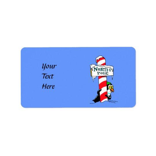 Cute Cartoon North Pole Penguin Label