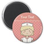 Cute cartoon nurse (blonde) 2 inch round magnet