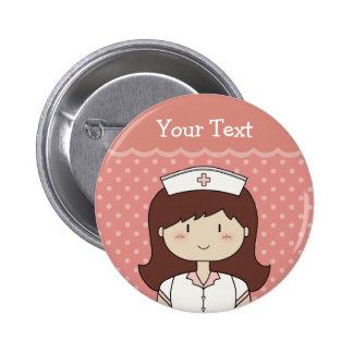 Cute cartoon nurse (brunette) 2 inch round button