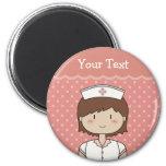 Cute cartoon nurse (brunette) 2 inch round magnet