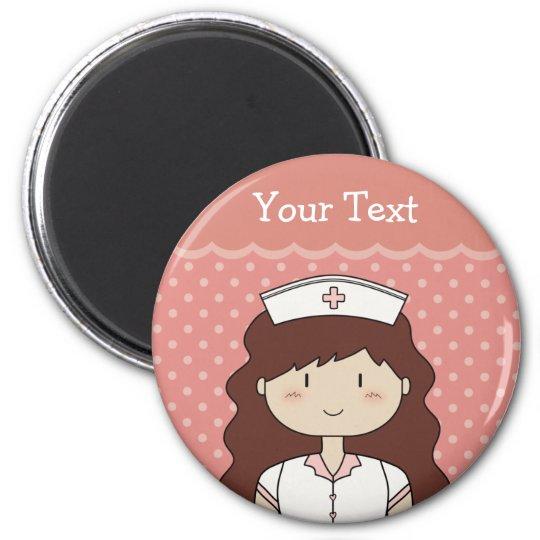 Cute cartoon nurse (brunette) magnet