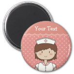 Cute cartoon nurse (brunette) magnets