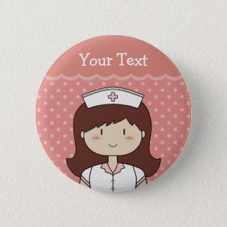Cute cartoon nurse (brunette) pinback button