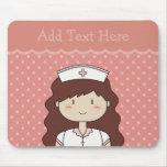Cute cartoon nurse (brunette) PINK Mousepad
