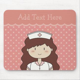 Cute cartoon nurse brunette PINK Mousepad