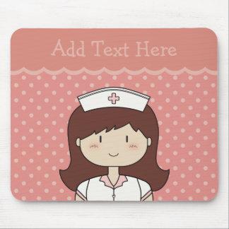Cute cartoon nurse brunette PINK Mousepads