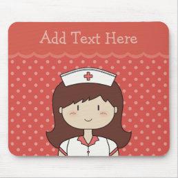 Cute cartoon nurse (brunette) RED Mouse Pad