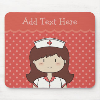 Cute cartoon nurse (brunette) RED Mouse Pad