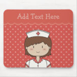 Cute cartoon nurse (brunette) RED Mousepads
