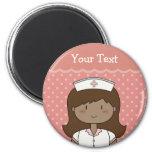 Cute cartoon nurse (brunette) refrigerator magnet