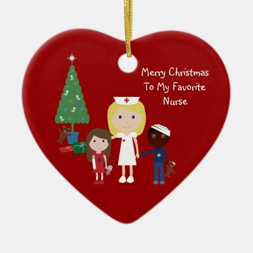 Cute cartoon nurse children christmas tree double sided