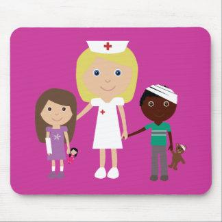 Cute Cartoon Nurse & Children Customizable Pink Mouse Pad