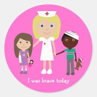Cute Cartoon Nurse & Children I Was Brave Today Classic Round Sticker