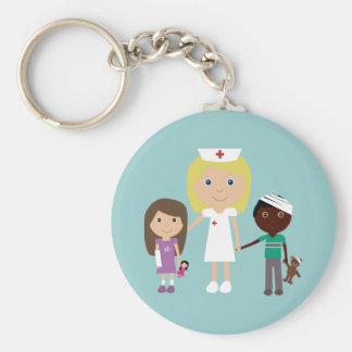Cute Cartoon Nurse & Children Keychain