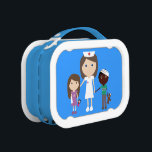 """Cute Cartoon Nurse &amp; Children Lunch Box<br><div class=""""desc"""">Pretty blue and white lunchbox with a cute cartoon illustration of a happy pediatric nurse with brown hair with injured kids. The background color can be customized to suit your needs by clicking on the """"Customize it"""" button – loads of colors to choose from. A fun whimsical gift for a...</div>"""