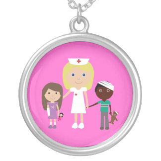 Cute Cartoon Nurse & Children Necklace