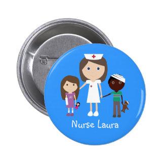 Cute Cartoon Nurse & Children Personalized 2 Inch Round Button