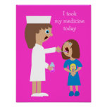 Cute Cartoon Nurse Giving Child Medicine Poster