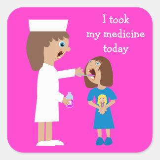 Cute Cartoon Nurse Giving Child Medicine Square Sticker