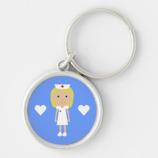 Cute Cartoon Nurse & Hearts Customizable Keychains