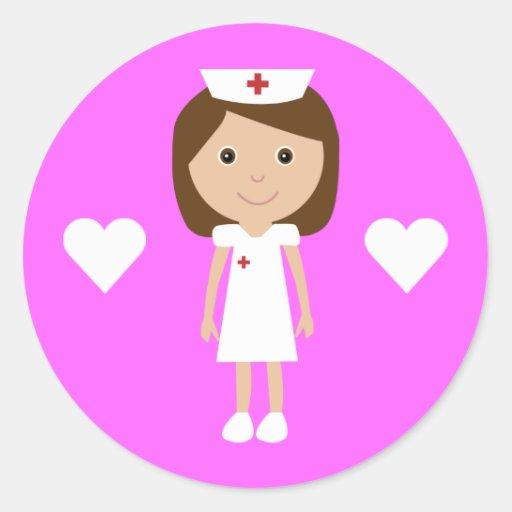Cute Cartoon Nurse & Hearts Customizable Pink Round Stickers