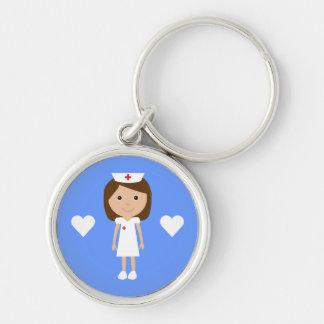Cute Cartoon Nurse & Hearts Customizable Silver-Colored Round Keychain
