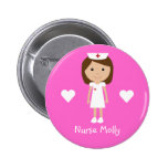Cute Cartoon Nurse & Hearts Personalized Pink 2 Inch Round Button