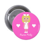 Cute Cartoon Nurse & Hearts Personalized Pink Pinback Button