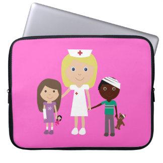 Cute Cartoon Nurse & Kids Customizable Pink Laptop Sleeve