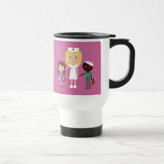Cute Cartoon Nurse & Kids Customizable Pink Travel Mug
