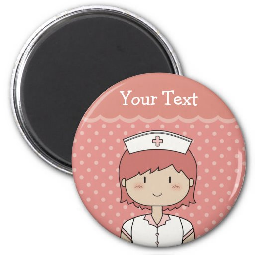Cute cartoon nurse (redhead) 2 inch round magnet