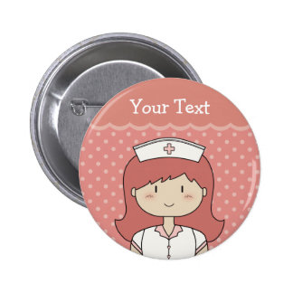 Cute cartoon nurse (redhead) pinback button