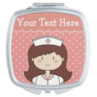 Cute Cartoon Nurse with Custom Text Mirror For Makeup